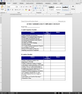 Sarbanes-Oxley Compliance Checklist Template