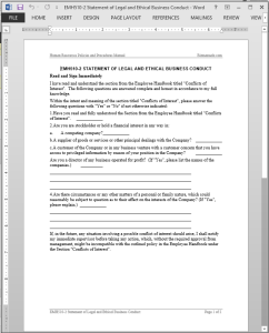 Legal Ethical Business Conduct Acknowledgement Template