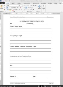 Valuation Improvement Plan Template