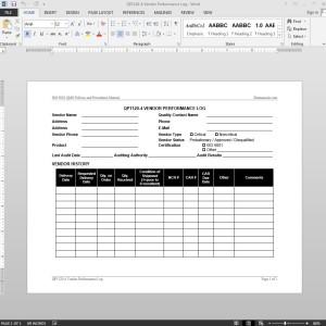 Vendor Performance Log ISO Template