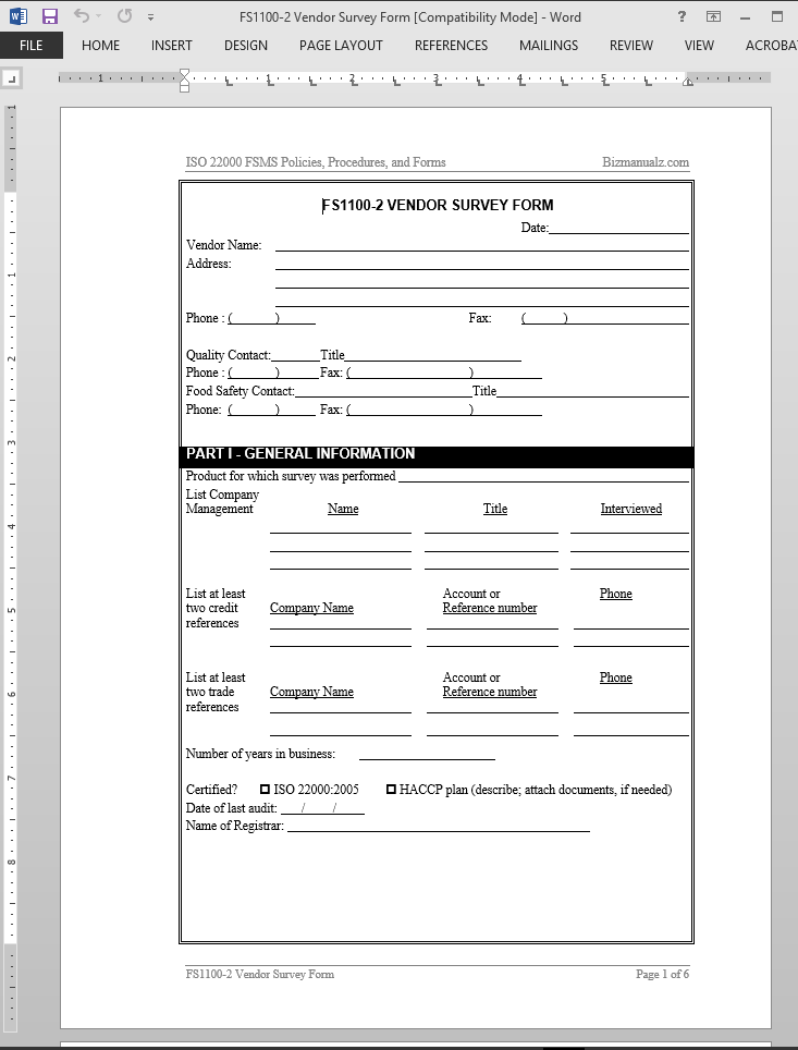 FSMS Vendor Survey Form Template