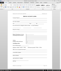 Account Closing Request Template
