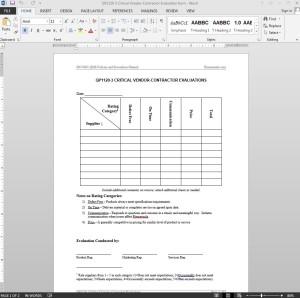 Critical Vendor-Contractor Evaluation ISO Template
