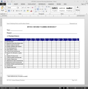Internet Planning Worksheet Template