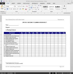 Internet Planning Worksheet Template