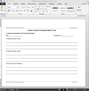Inventory Management Plan Template