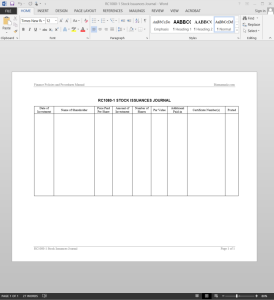 sStock Issuances Journal Template