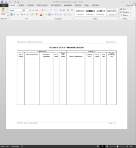 stock transfer ledger template - stock transfer journal template