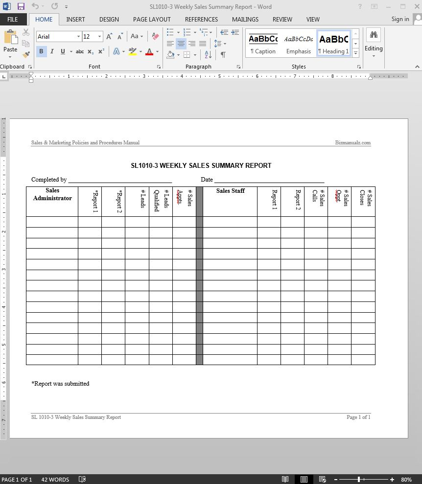 Sales Summary Report Template – Sales Weekly Report Template
