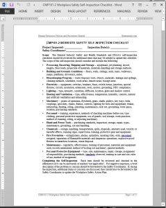Workplace Safety Self-Inspection Checklist Template