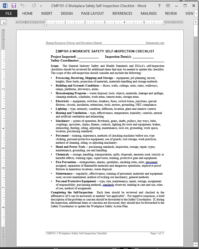 Workplace safety self inspection checklist template for Office safety inspection checklist template