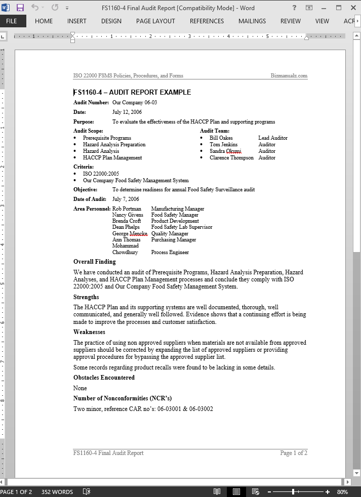 FSMS Audit Report Example Template Details  Audit Report Formats