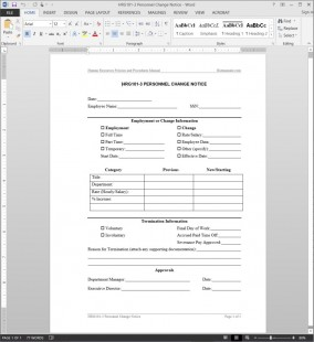 HRG101-3 Personnel Change Notice Template