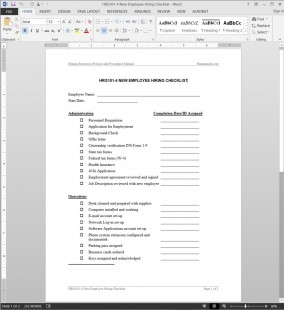 HRG101-4 Employee Hiring Checklist Template