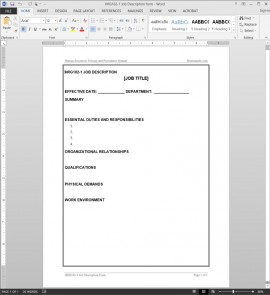 HRG102-1 Job Description Worksheet Template
