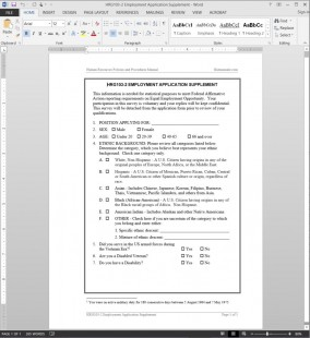 HRG103-2 Supplement to Employment Application Template