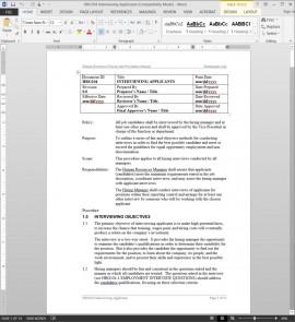 HRG104 Applicant Interview Procedure