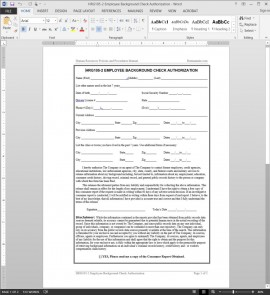 HRG105-2 Employee Background Check Authorization Template