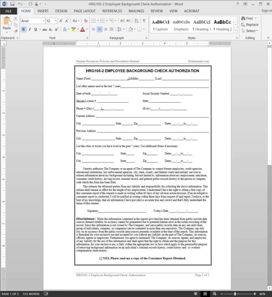 Employee background check authorization template add to wishlist pronofoot35fo Choice Image