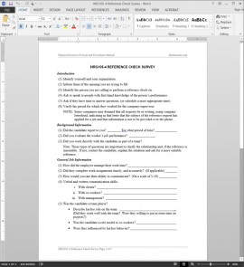 HRG105-4 Reference Check Survey Template
