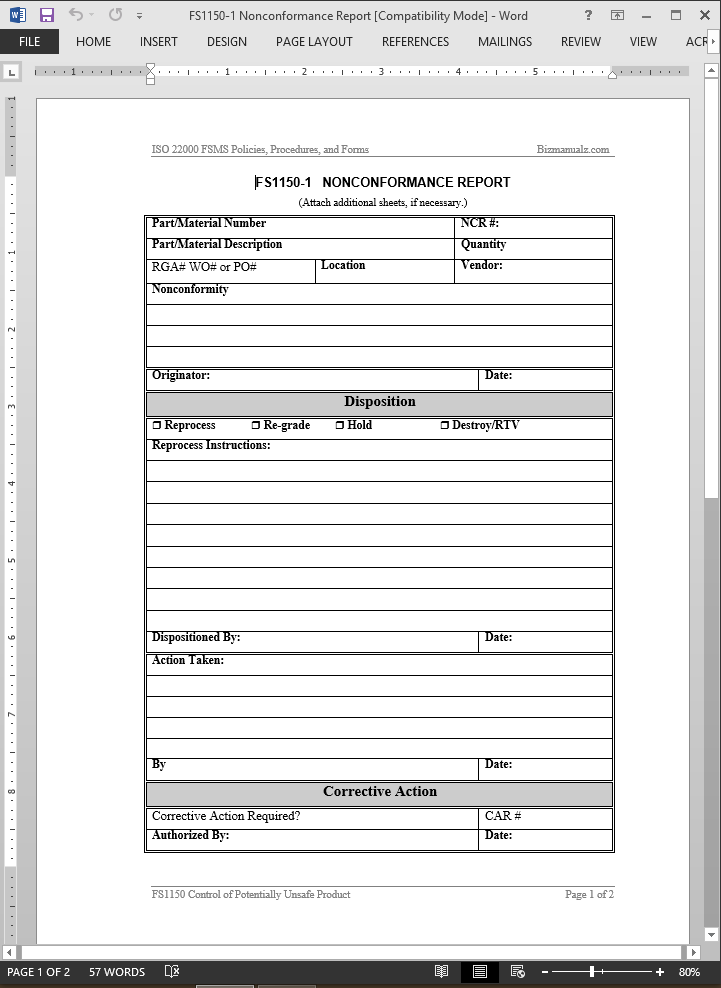 fsms nonconformance report template