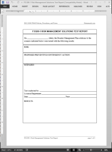 FSMS Risk Management Solutions Test Report Template