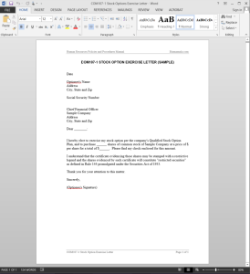 Stock Options Exercise Letter Template