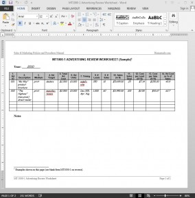 Advertising Review Worksheet Template | MT1000-1 Bizmanualz 1