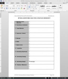 Advertising Objectives-Strategies Worksheet Template | MT1000-2 Bizmanualz 1