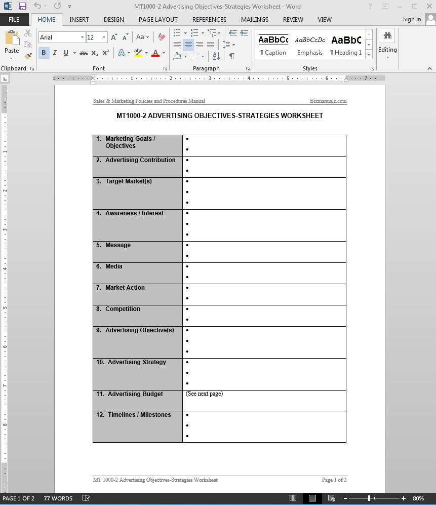 advertising objectives strategies worksheet template