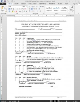 ENG103-1 Labels Labeling Approval Template