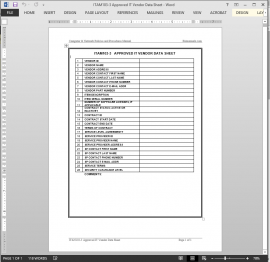 ITAM103-3 Approved IT Vendor Data Worksheet Template