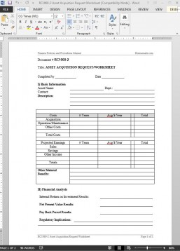 RC1060-2 Asset Acquistion Request Worksheet Template