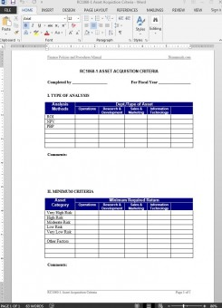 RC1060-1 Asset Acquistion Criteria Guide Template