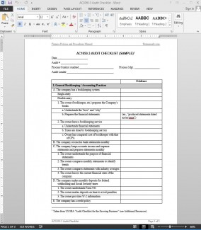 AC1050-3 Audit Checklist Template