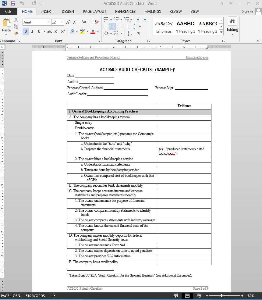 Bizmanualz  Audit Template Word