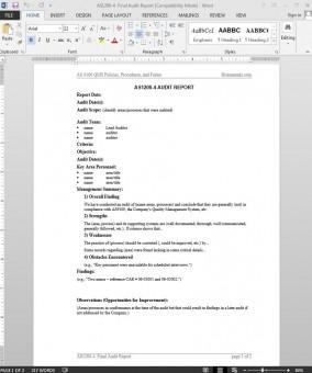 Audit Report AS Template | AS1299-4 Bizmanualz 1