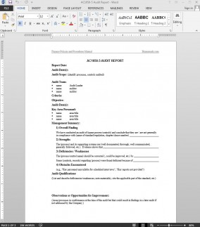 AC1050-5 Financial Audit Report Template