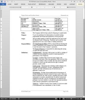 RC1030 Bank Loan Applications Procedure