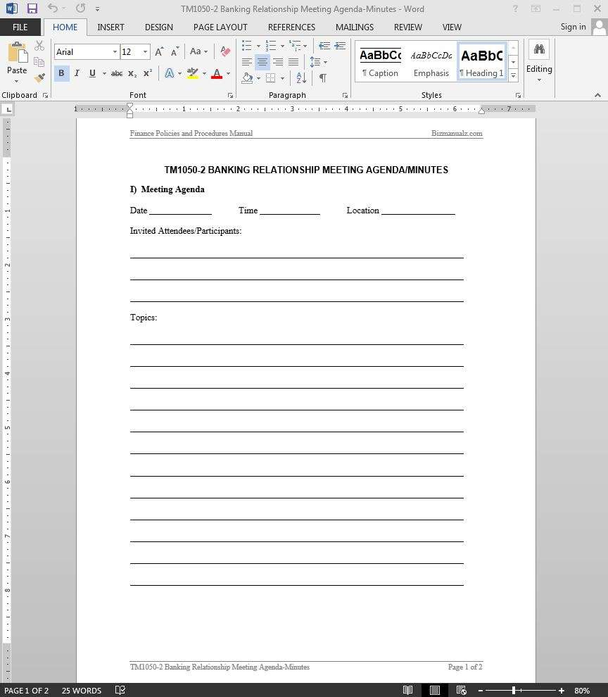 Banking Relationship Meeting Minutes Template – Meeting Agenda Format