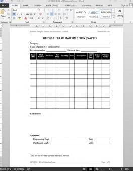 MFG102-1 Bill of Materials Report Template