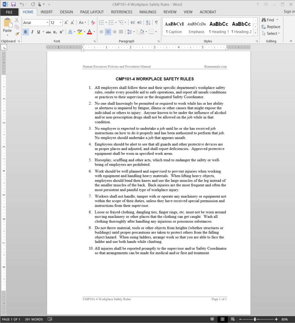 Workplace safety rules guide template for Workplace safety program template