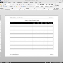 Calibration Log ISO Template | QP1170-2 Bizmanualz 1