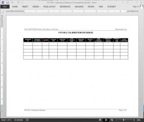 FSMS Calibration Database Template | FDS1140-2 Bizmanualz 1
