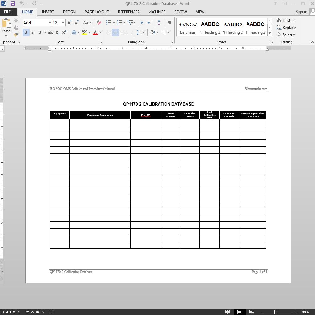 Calibration log iso template for Free quality control manual template