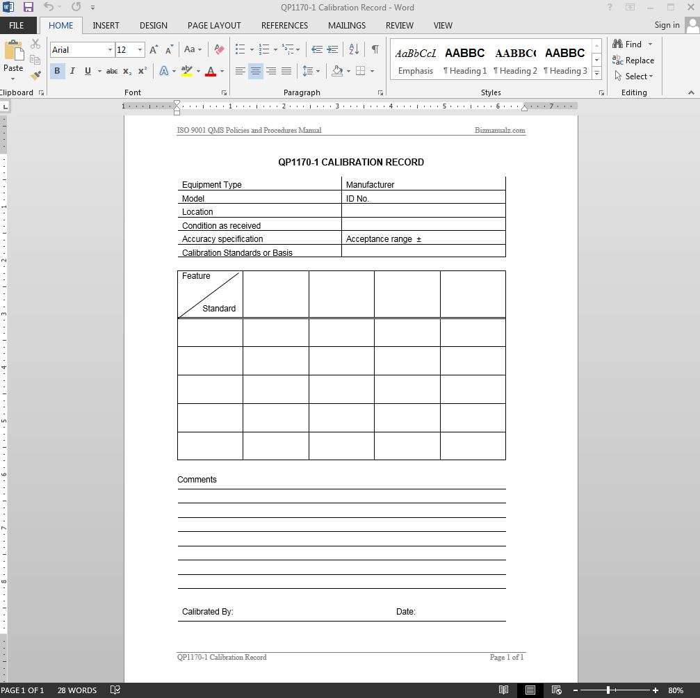 Iso calibration record iso template for Iso 9001 forms templates free