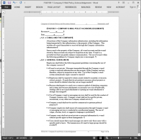 ITAD108-1 Company E-Mail Policy Acknowledgement Template