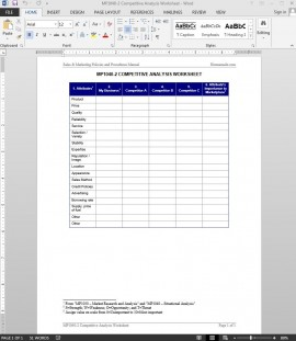 Competitive Analysis Worksheet Template | MP1040-2 Bizmanualz 1