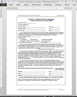 COM106-1 COBRA Continuation of Coverage Request Template | COM106-1 Bizmanualz 1