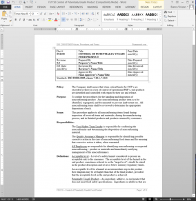 FSMS Control of Potentially Unsafe Product Procedure | FDS1150 Bizmanualz 1